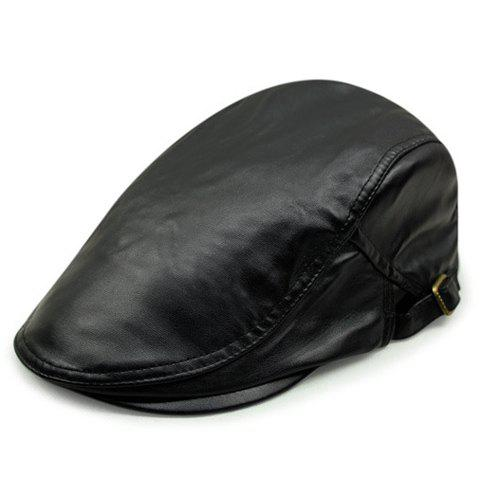 Stylish Lusterless Color Men's PU Cabbie Hat - BLACK