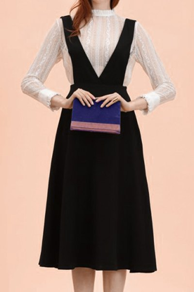 Preppy Style Sleeveless Solid Color Bowknot Embellished Women's Suspender Skirt - BLACK L