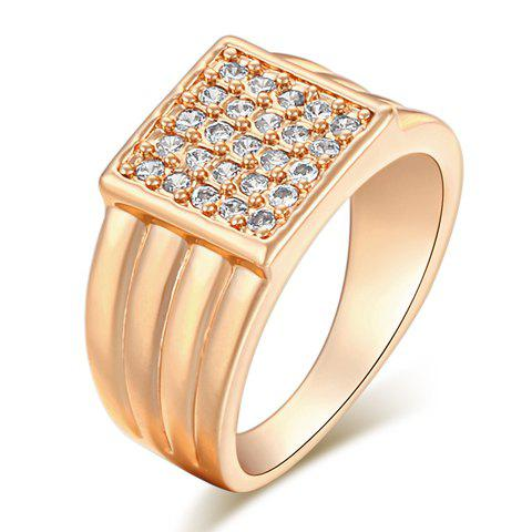 Rhinestone Square Shape Ring - GOLDEN ONE-SIZE
