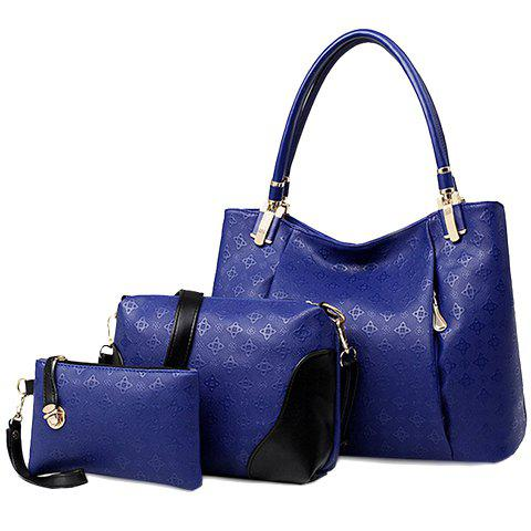 Stylish Style Embossing and PU Leather Design Tote Bag For Women - BLUE