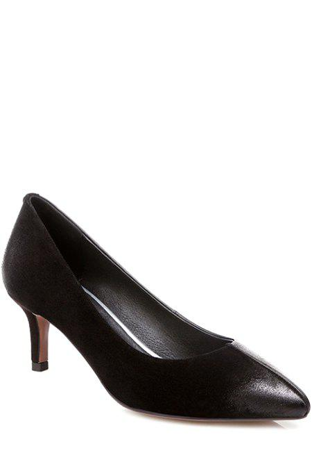 Concise Pointed Toe and Black Design Pumps For Women - BLACK 37