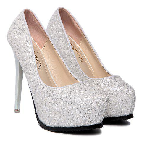 Fashion Sequins and Platform Design Pumps For Women - WHITE 39