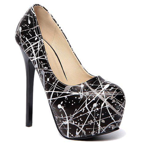 Fashionable Print and PU Leather Design Pumps For Women - 39 BLACK