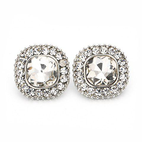 Pair of Square Shape Faux Crystal Rhinestone Earrings - SILVER