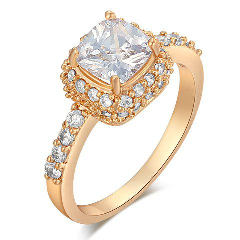 Stunning Rhinestoned Geometric Ring For Women - GOLDEN ONE-SIZE