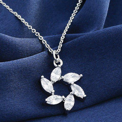 Exquisite Faux Crystal Flower Shape Pendant Necklace For Women - SILVER