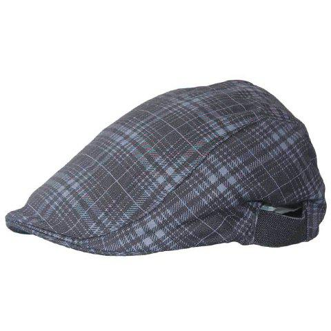 Chic Plaid Pattern Women's Black Gray Cabbie Hat - BLACK GREY