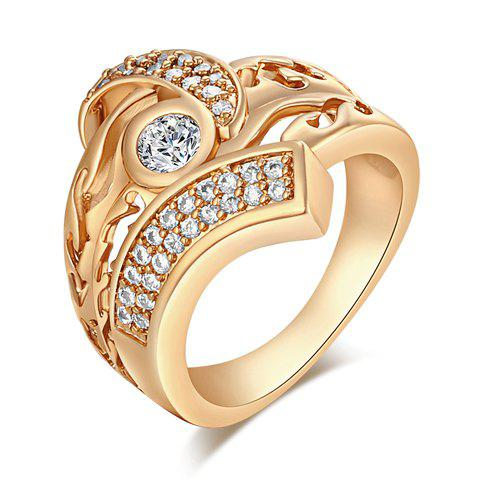 Chic Rhinestoned Hollow Out Ring For Men - GOLDEN ONE-SIZE