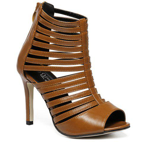 Fashionable Hollow Out and PU Leather Design Sandals For Women