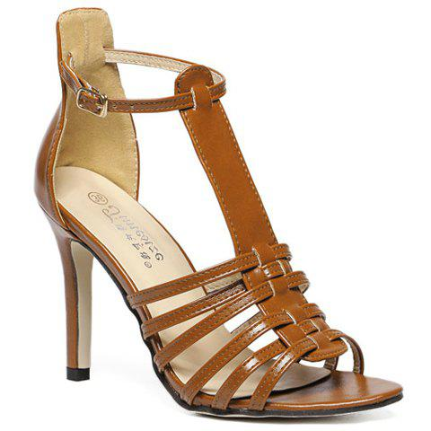 Trendy Peep Toe and T-Strap Design Sandals For Women - LIGHT BROWN 37