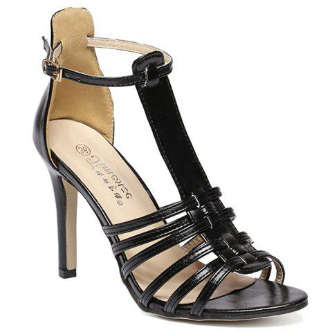 Trendy Peep Toe and T-Strap Design Sandals For Women - BLACK 38