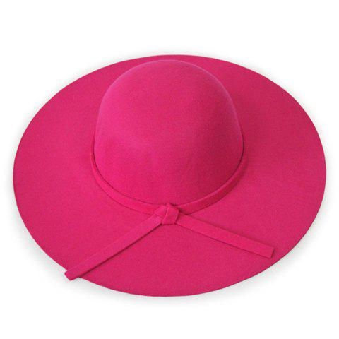 Chic Knotted Lace-Up Solid Color Women's Felt Floppy Hat - ROSE