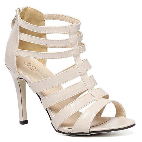 Stylish PU Leather and Peep Toe Design Sandals For Women - APRICOT 37