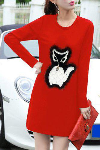 Chic Long Sleeve Round Collar Fox Patch Women's Dress - RED M
