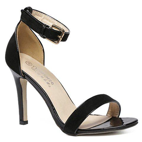 Fashion Two-Piece and Flock Design Sandals For Women - BLACK 36