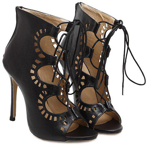 Fashion Lace-Up and Hollow Out Design Peep Toe Shoes For WomenShoes<br><br><br>Size: 38<br>Color: BLACK