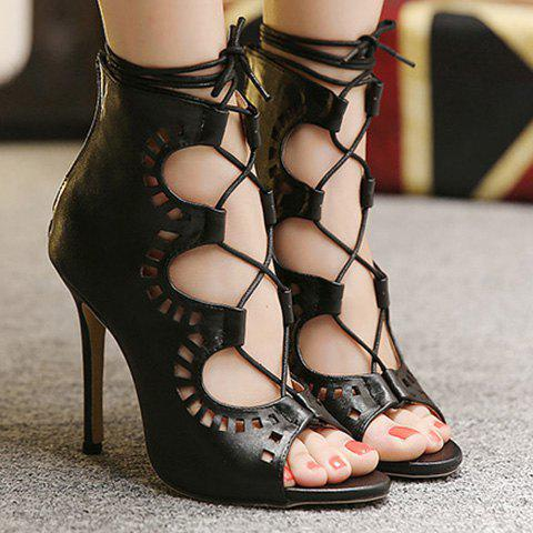 Fashion Lace-Up and Hollow Out Design Peep Toe Shoes For Women - BLACK 40