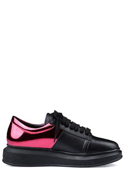 Stylish Color Block and Lace-Up Design Sneakers For Women - RED 36