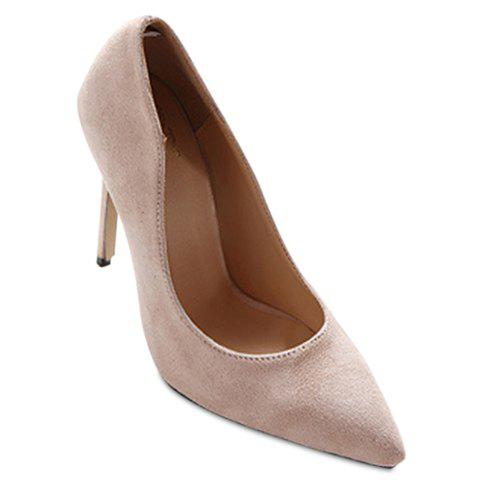 Simple Pointed Toe and Suede Design Pumps For Women