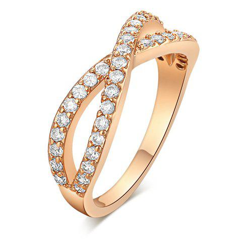 Crossover Shape Rhinestoned Ring - GOLDEN ONE-SIZE