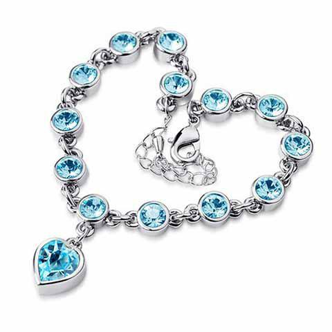 Romantic Faux Crystal Heart Shape Valentine's Day Gift Bracelet For Women - WATER BLUE