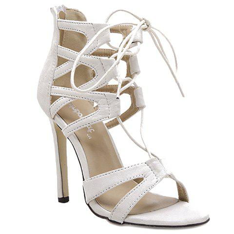 Stylish Lace-Up and Zip Design Sandals For Women - WHITE 39