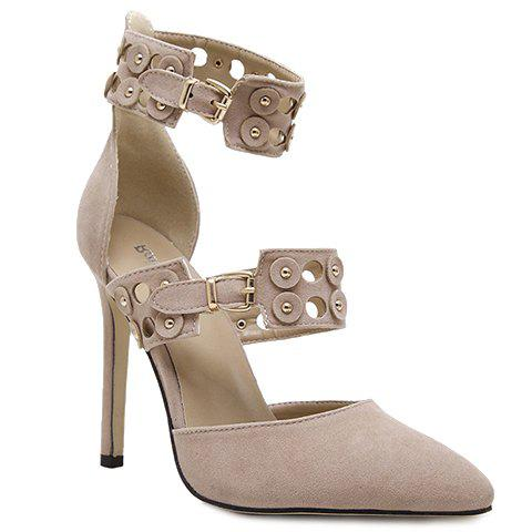 Elegant Ankle Strap and Suede Design Pumps For Women - APRICOT 38