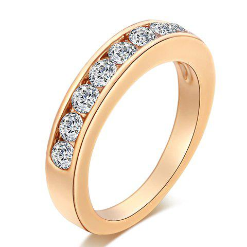 Simple Style Rhinestoned Round Ring For Women - GOLDEN ONE-SIZE