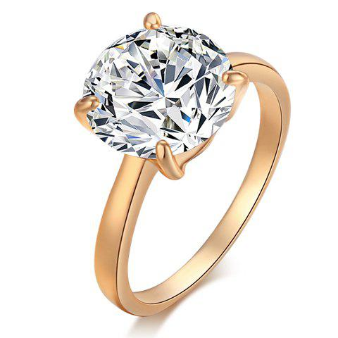 Rhinestone Gold Plated Alloy Ring - GOLDEN ONE-SIZE