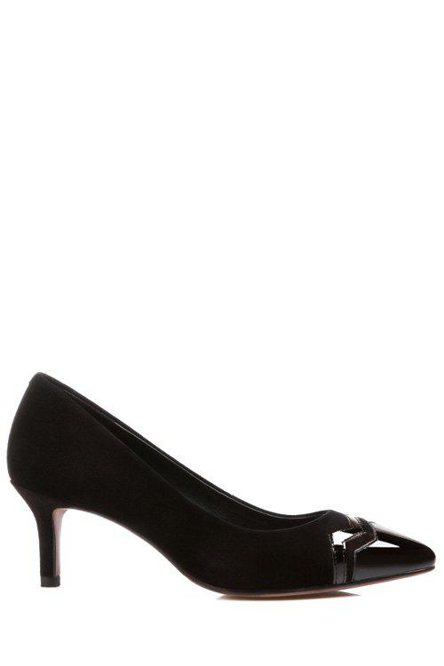 Elegant Black and Splicing Design Pumps For Women - BLACK 38