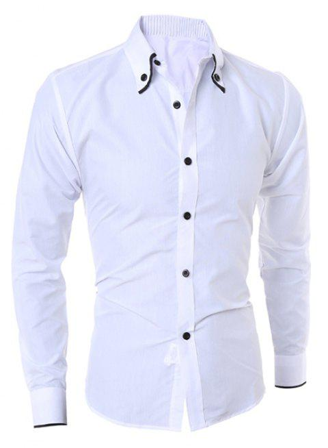 Button-Down Shirt Casual Turn-Down Collar Color Block Purfled manches longues hommes - Blanc 2XL