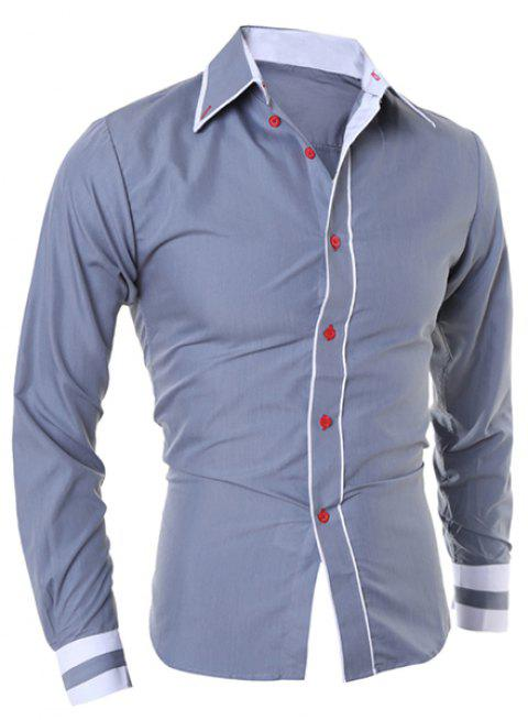 Simple Style Turn-Down Collar Color Block Splicing Long Sleeve Men's Shirt - GRAY L