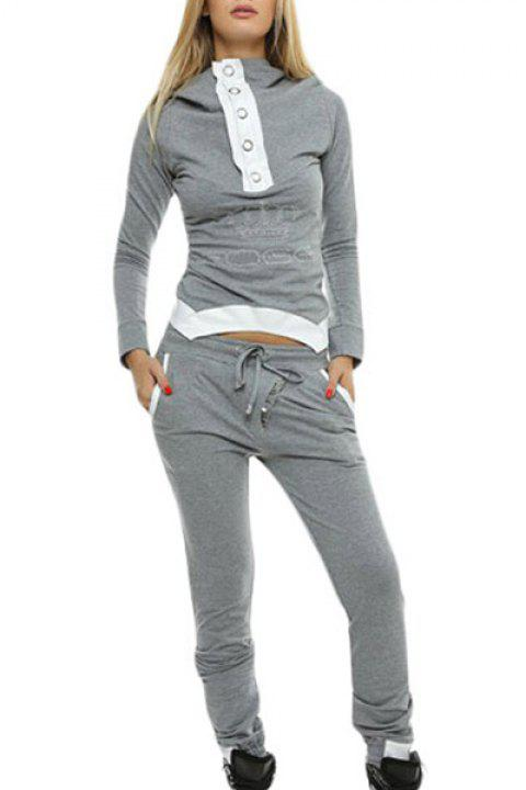 Active Hooded Long Sleeve Spliced Hoodie + Drawstring Pants Women's Twinset - GRAY ONE SIZE(FIT SIZE XS TO M)
