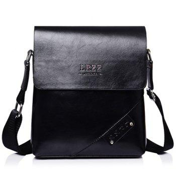 Fashion Letter Print and PU Leather Design Messenger Bag For Men - BLACK BLACK
