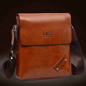 Fashion Letter Print and PU Leather Design Messenger Bag For Men -  BLACK