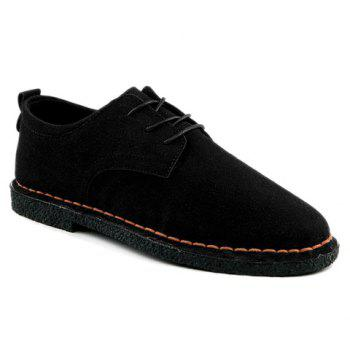 Fashionable Solid Color and Suede Design Men's Casual Shoes - BLACK 44