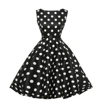 Retro Style Round Collar Sleeveless Polka Dot Women's Ball Gown Dress