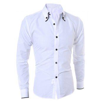 Buy Casual Turn-Down Collar Color Block Purfled Long Sleeve Men's Button-Down Shirt WHITE