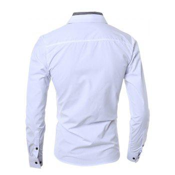 Turn-Down Collar Color Block Stripes Print Long Sleeve Men's Shirt - WHITE M