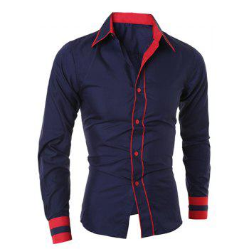 Simple Style Turn-Down Collar Color Block Splicing Long Sleeve Men's Shirt