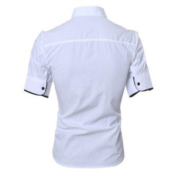 Solid Color Short Sleeve Button Down Shirt - WHITE M