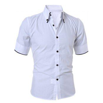Solid Color Short Sleeve Button Down Shirt