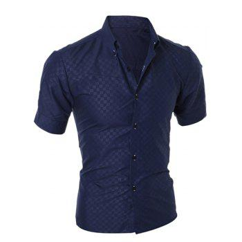 Simple Style Turn-Down Collar Solid Color Short Sleeve Slimming Men's Shirt