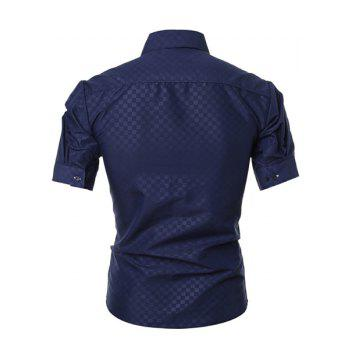 Simple Style Turn-Down Collar Solid Color Short Sleeve Slimming Men's Shirt - CADETBLUE 2XL