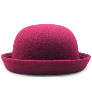 Chic Various Candy Color Flanging Women's Felt Bowler Hat