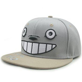 Chic Cartoon Eyes Nose Teeth Embroidery Women's Light Gray Baseball Cap