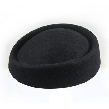Chic Solid Color Faux Wool Women's Airline Stewardess Hat