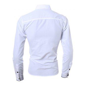 Casual Turn-Down Collar Color Block Purfled Long Sleeve Men's Button-Down Shirt - WHITE 2XL