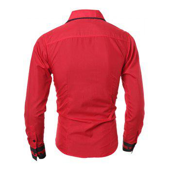 Simple Style Turn-Down Collar Color Block Splicing Long Sleeve Men's Shirt - RED 2XL