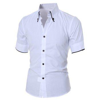 Solid Color Short Sleeve Button Down Shirt - WHITE XL